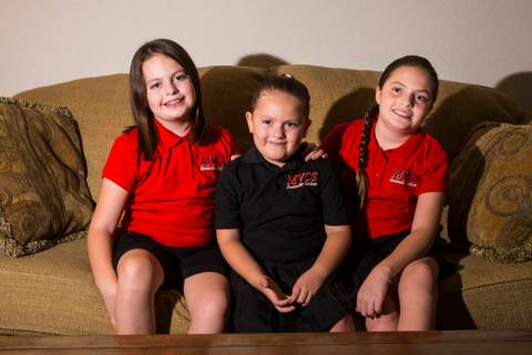 Sisters, from left, Trinity Ybarra, 8, Nala Ybarra, 5, and Elia Ybarra, 9, hope they can contin ...
