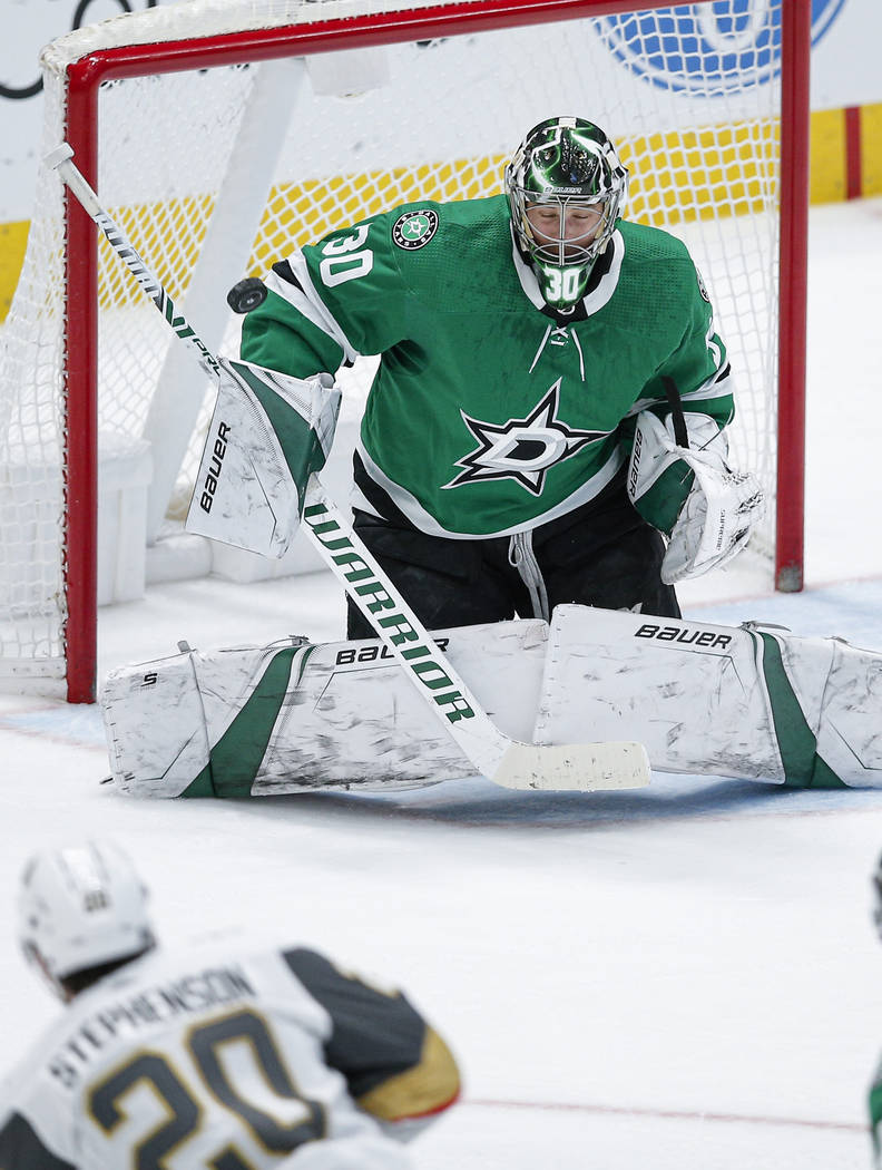 Dallas Stars goaltender Ben Bishop (30) is unable to stop a shot from Vegas Golden Knights forw ...