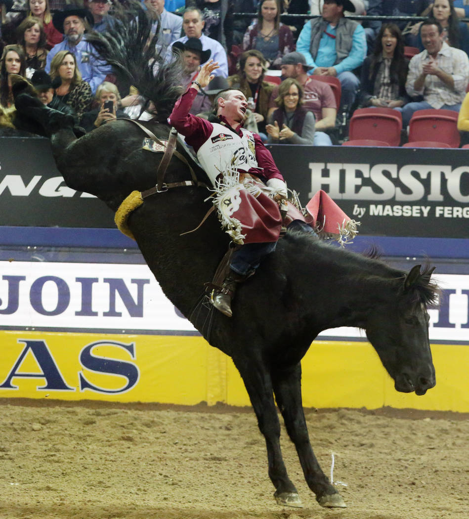 Tim O'Connell of Zwingle, Iowa rides Nutrena's Bad Influence during Bareback Riding in the eigh ...