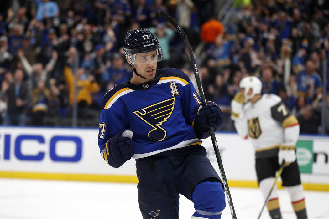 St. Louis Blues' Jaden Schwartz celebrates after scoring during the second period of an NHL hoc ...