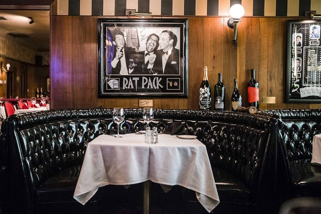 "The ""Rat Pack"" booth is one of the most popular seating options at the Golden Steer Steakhouse. ..."