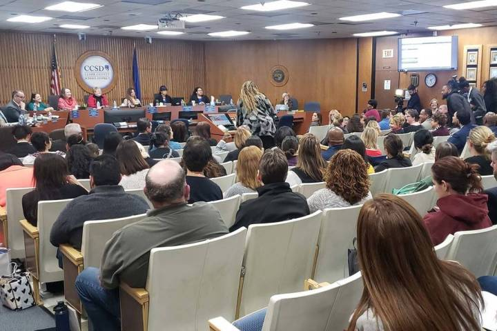 The Clark County School Board of Trustees met Thursday, Dec. 12, 2019, before a packed chamber ...