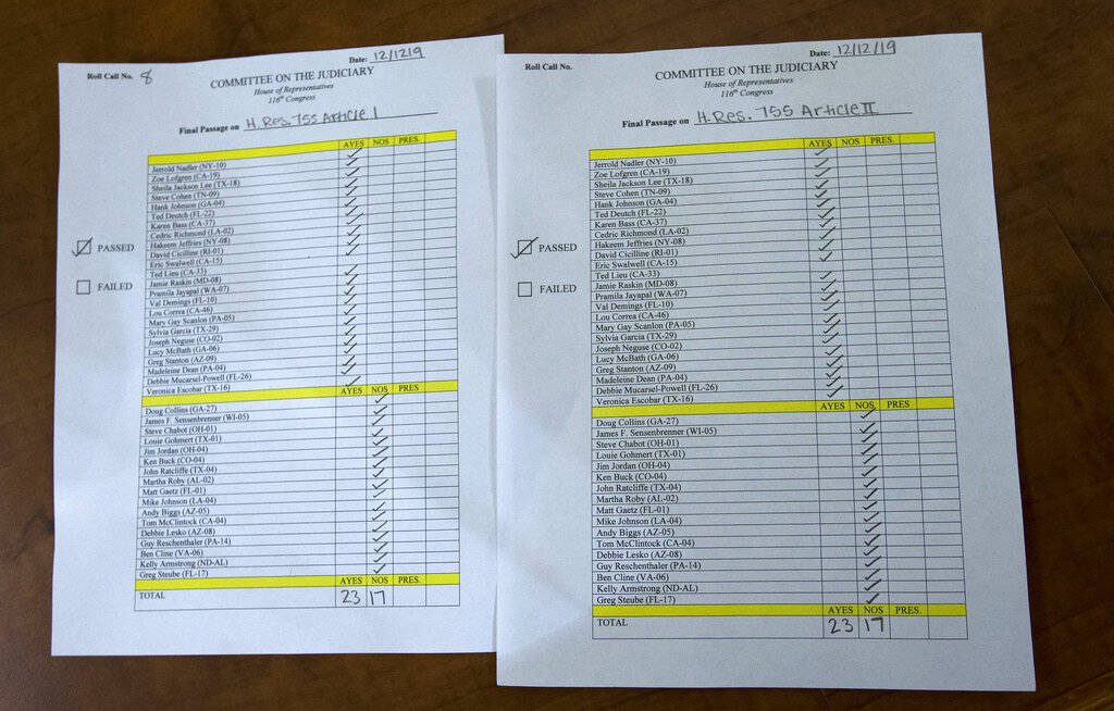 The roll call vote 23-17 recorded by the clerk after the House Judiciary Committee approved the ...