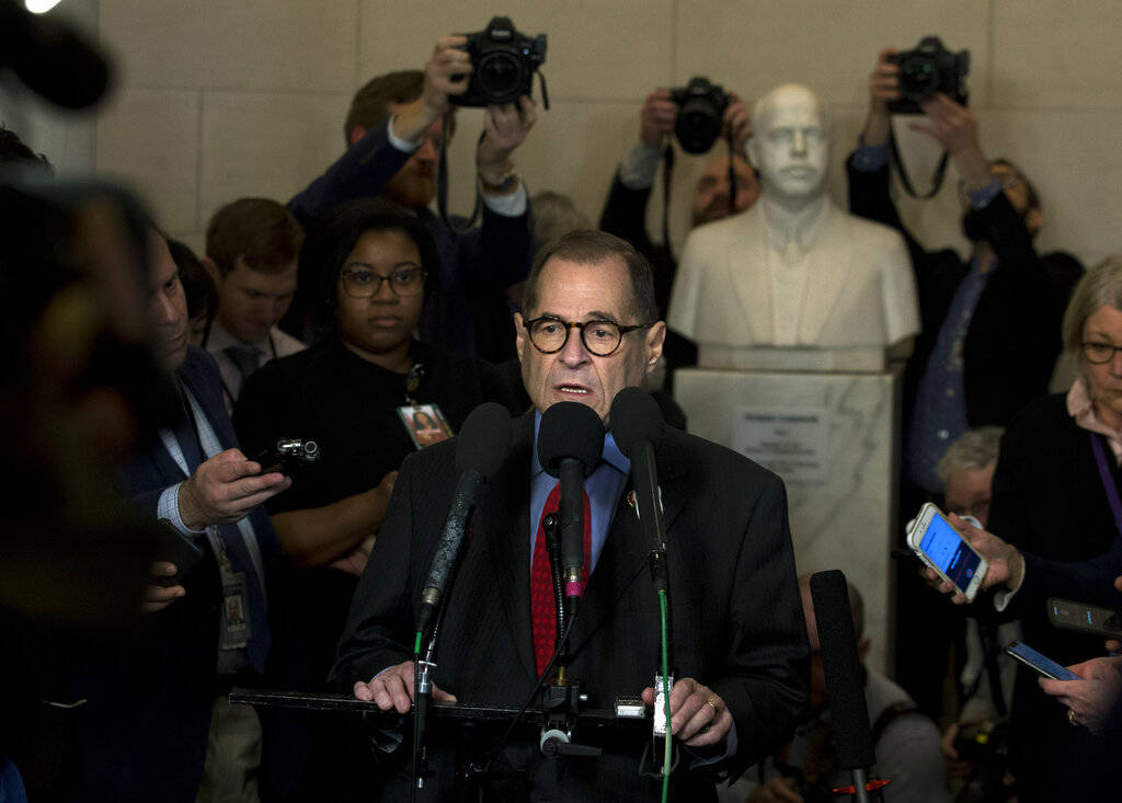 House Judiciary Committee Chairman Rep. Jerrold Nadler, D-N.Y., speaks to the media following a ...