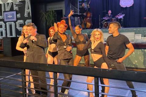 The cast of Mayfair Supper Club is shown during a media sneak preview at Park MGM on Thursday, ...