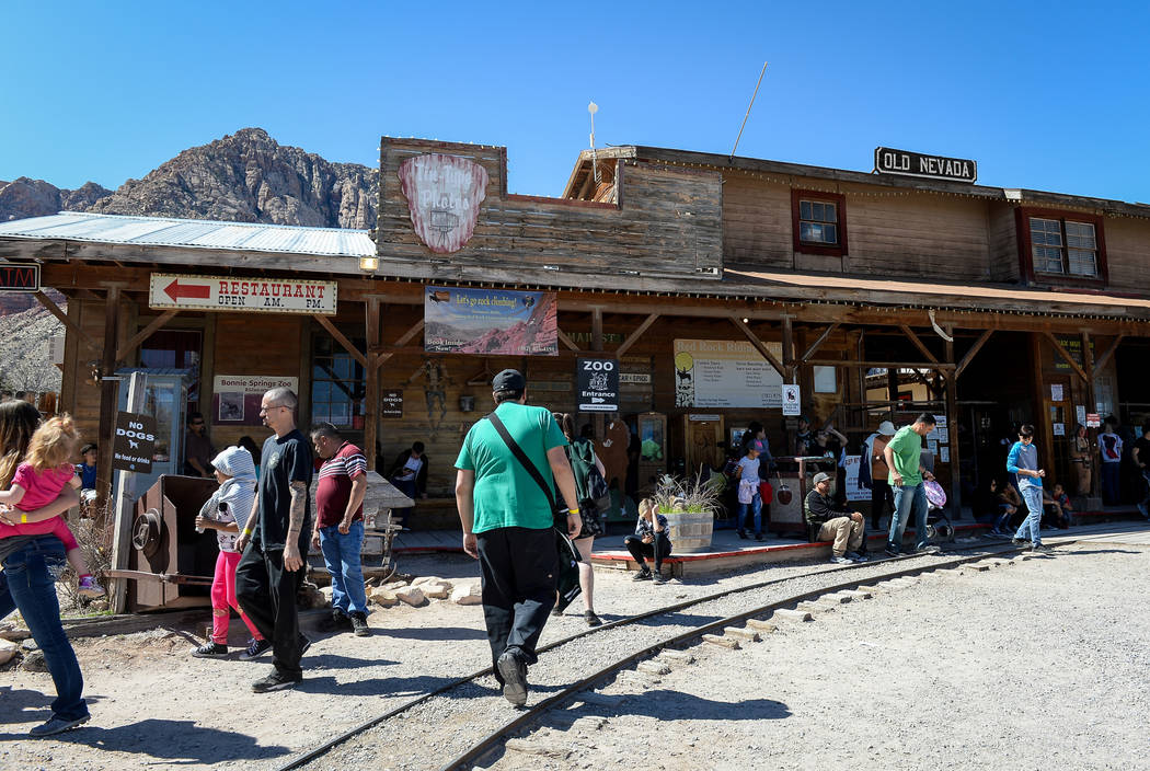 People gather at the entrance of the Old Nevada Western town on the last day of operations at B ...