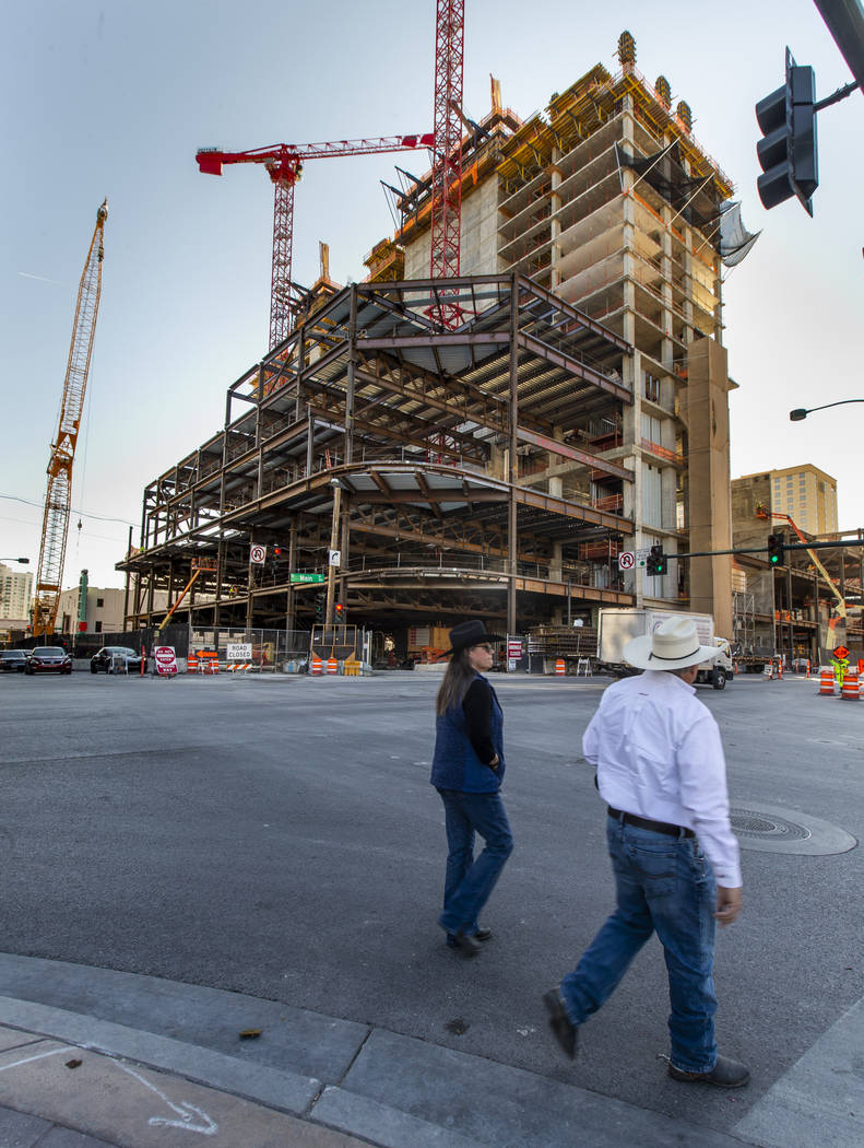 The exterior is taking shape during a construction tour of the Circa on Monday, Dec. 9, 2019, i ...