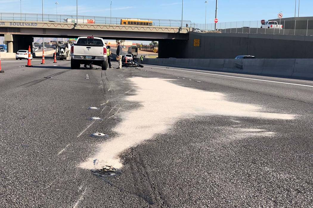 A motorcyclist died after a crash on U.S. Highway 95 near the Decatur Boulevard exit in Las Veg ...