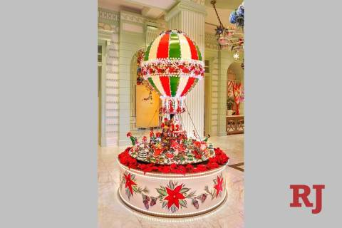 The model hot-air balloon in The Buffet at Wynn Las Vegas stands 10 feet tall and weighs 200 po ...
