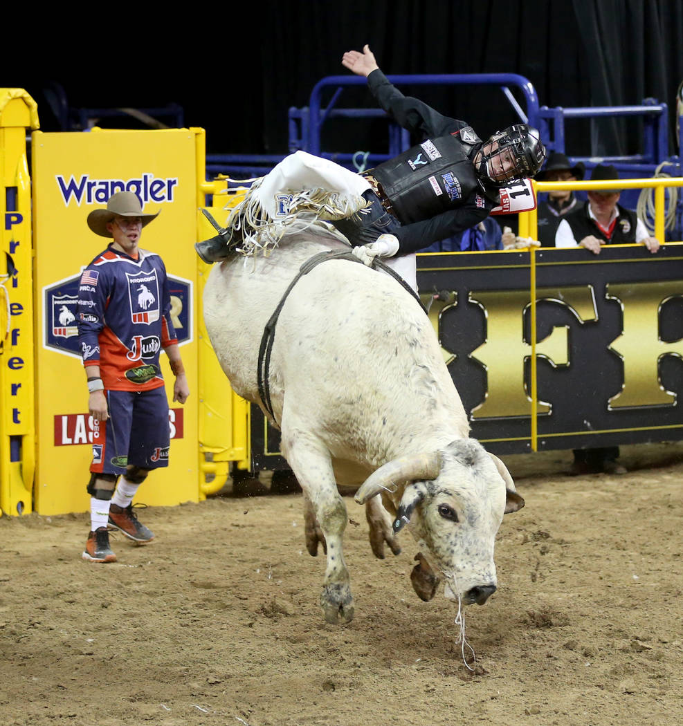 Boudreaux Campbell of Crockett, Texas rides Goofy during the ninth go-around of the Wrangler Na ...