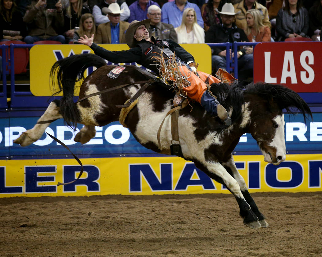 Clint Laye of Canada rides Life Jacket in the Bareback Riding competition during the ninth go-a ...