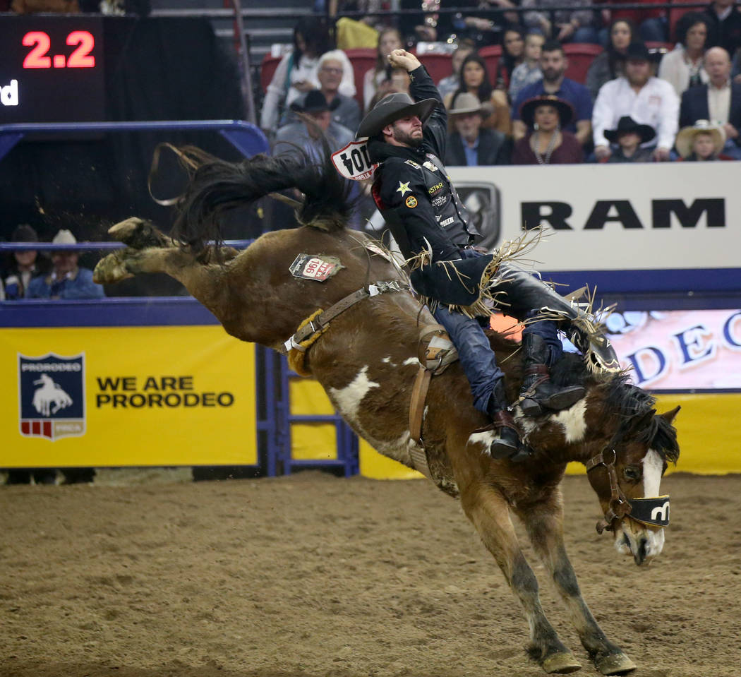 Taylor Broussard of Estherwood, La. rides Show Boat in Bareback Riding during the ninth go-arou ...