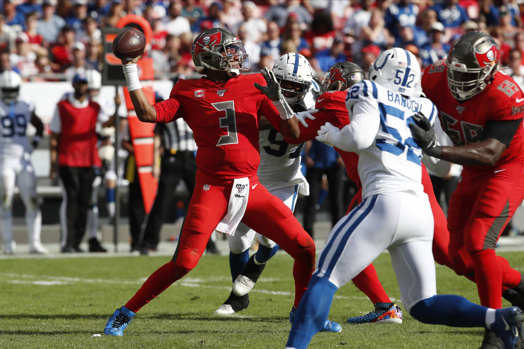 Tampa Bay Buccaneers quarterback Jameis Winston (3) throws a pass against the Indianapolis Colt ...