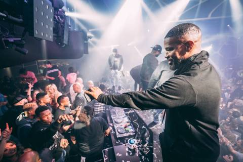 Jamie Foxx celebrates his 52nd birthday at Hakkasan Nightclub at MGM Grand on Thursday, Dec. 12 ...