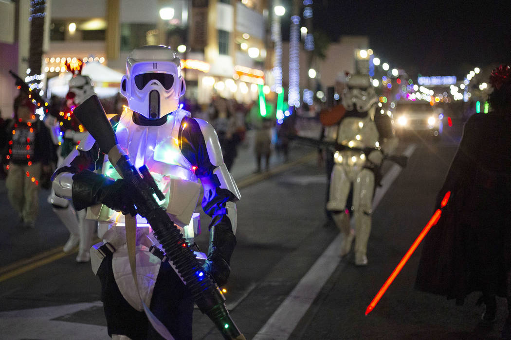 A member of Las Vegas Star Wars Clubs participates in the parade at Henderson's annual WinterFe ...