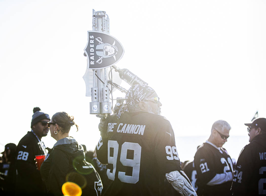 """""""The Cannon"""" tailgates outside the Oakland Coliseum before the start of an NFL footba ..."""