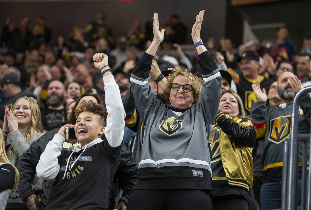 Vegas Golden Knights fans celebrate another goal versus the Vancouver Canucks during the second ...
