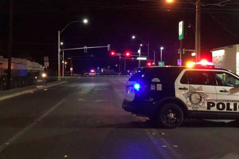 Police investigate a crash that killed a pedestrian Sunday, Dec. 15, 2019, on Boulder Highway n ...