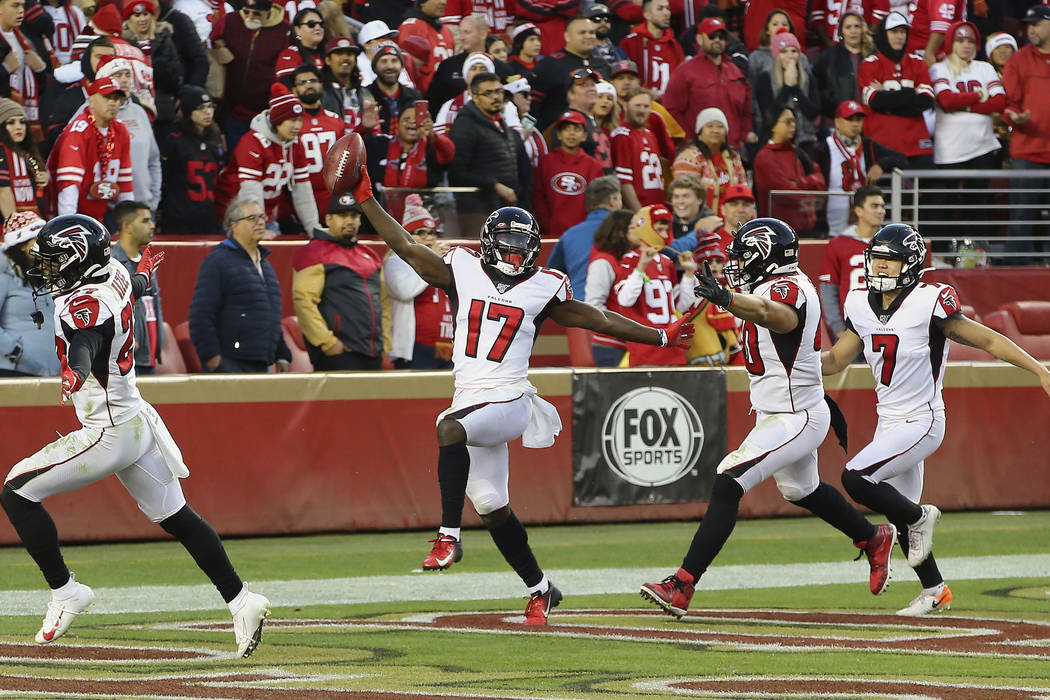Atlanta Falcons' Olamide Zaccheaus (17) celebrates after scoring against the San Francisco 49er ...