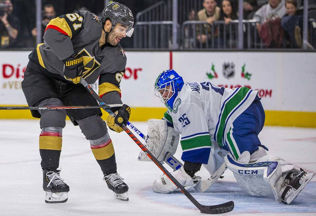 Vegas Golden Knights left wing Max Pacioretty (67) scores his second of the night on Vancouver ...