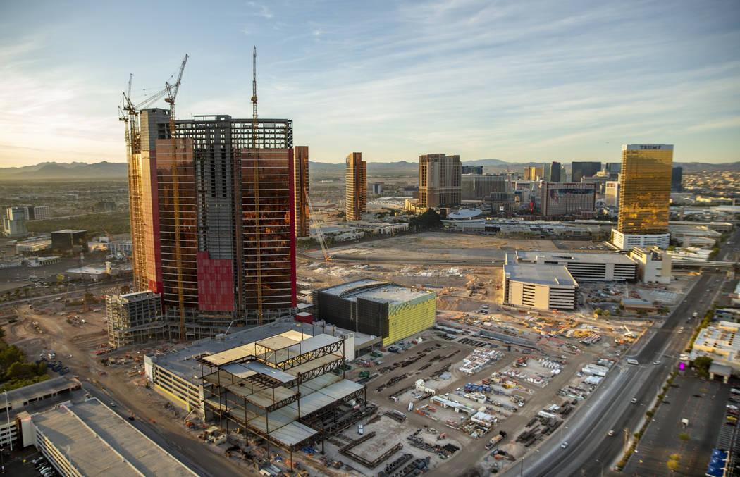 Resorts World under construction during an aerial photo on Wednesday, Oct. 16, 2019, in Las Veg ...