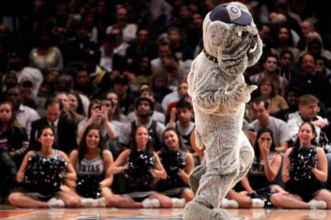 The Georgetown mascot dances during the second round of the Big East NCAA college basketball co ...