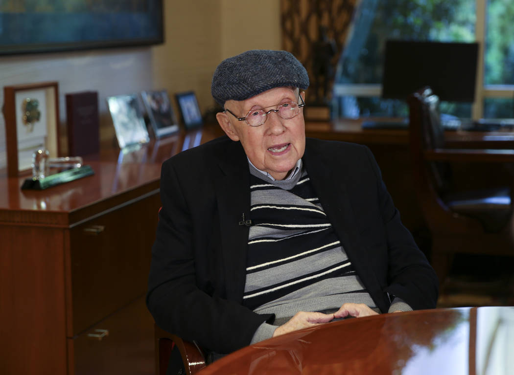 Former Nevada Sen. Harry Reid talks to a reporter in his office at the Bellagio in Las Vegas Mo ...