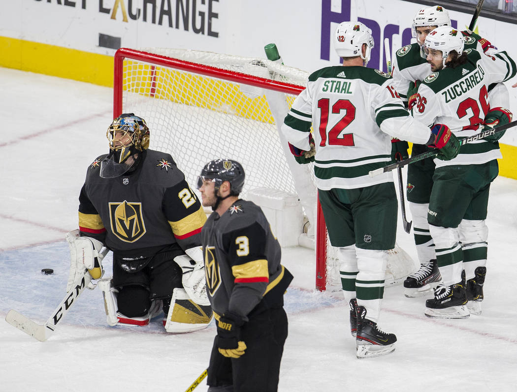 Minnesota Wild center Eric Staal (12), Minnesota Wild right wing Mats Zuccarello (36) and Minne ...