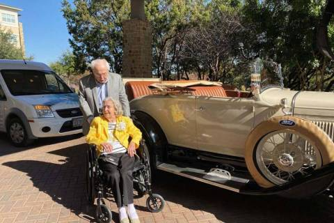 To celebrate their 80th year together, 106-year-old John Henderson picked up 105-year-old Charl ...