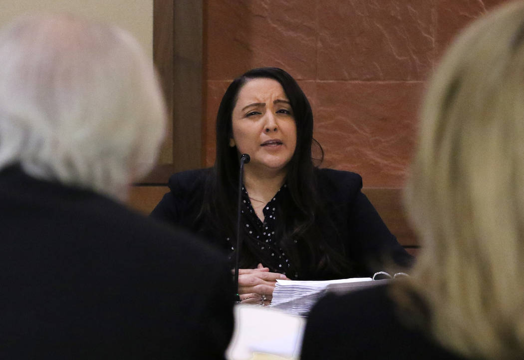 Attorney Bill Terry, left, defending Las Vegas Justice of the Peace Melanie Andress-Tobiasson, ...