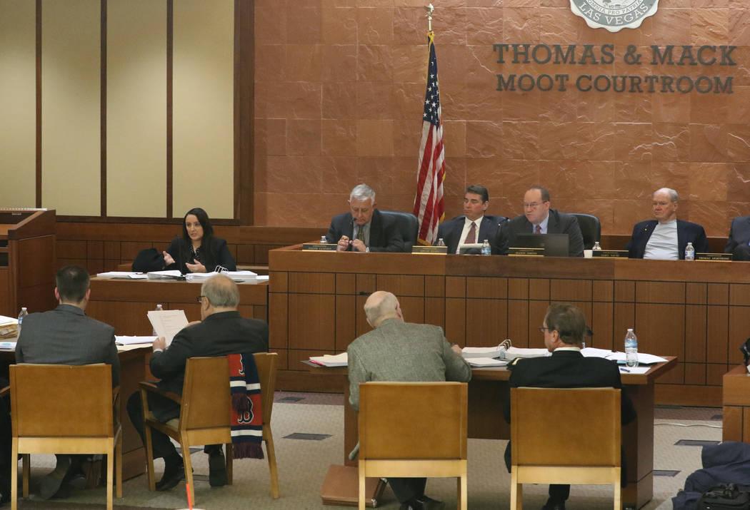 Elizabeth Cota testifies during a Nevada Judicial Discipline Commission panel hearing at UNLV o ...