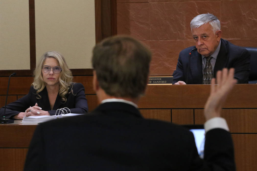 Justices of Peace Melanie Andress-Tobiasson, left, listens to prosecutor Thomas Bradley's quest ...