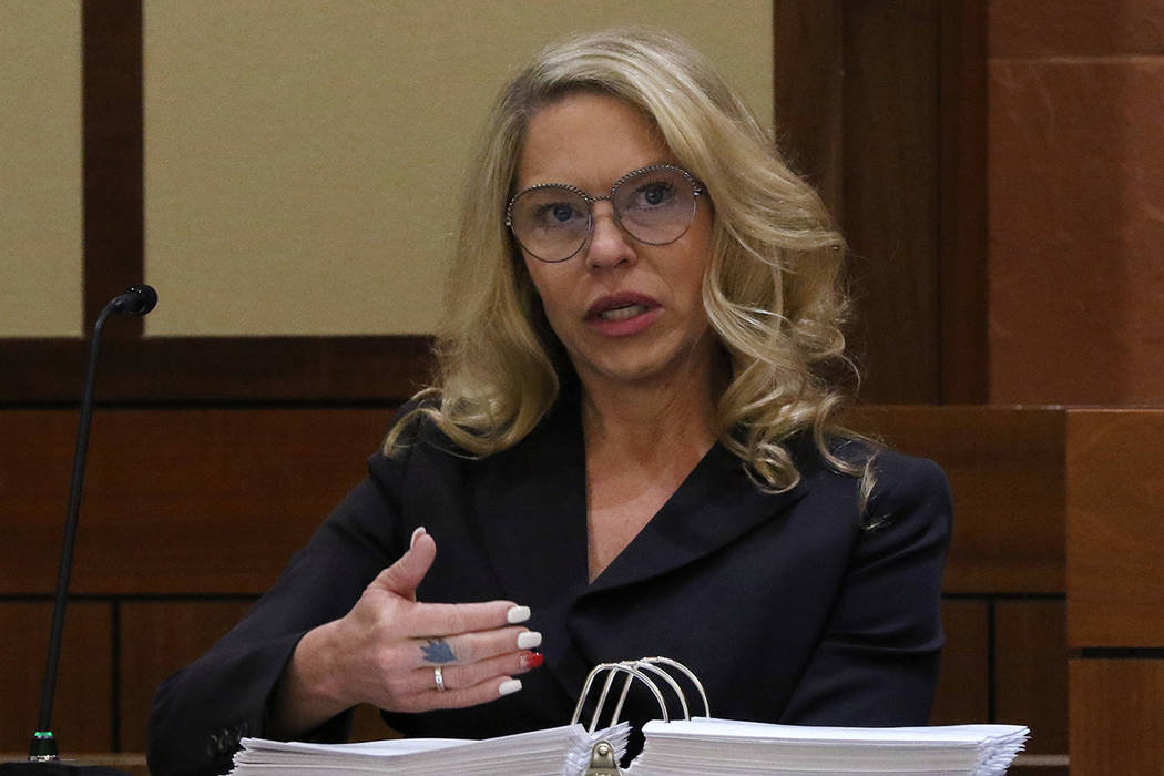 Justices of the Peace Melanie Andress-Tobiasson, left, testifies during a Nevada Judicial Disci ...