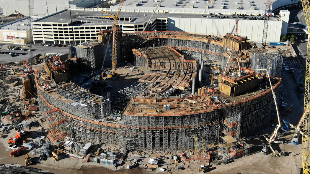 An aerial view of the Madison Square Garden Sphere under construction next to the Sands Expo Co ...