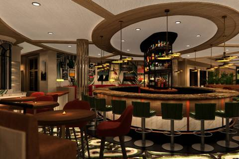 A rendering of the main bar at Bugsy & Meyer's, which is expected to open in early 2020 at Flam ...