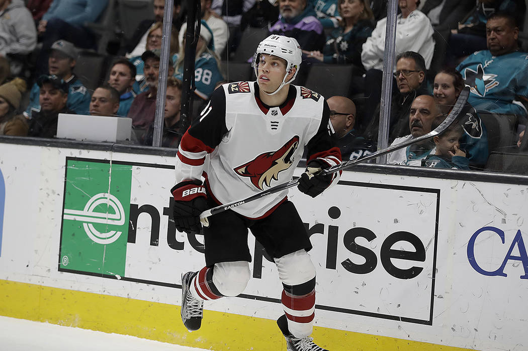 Arizona Coyotes' Taylor Hall in action against the San Jose Sharks in the second period of an N ...