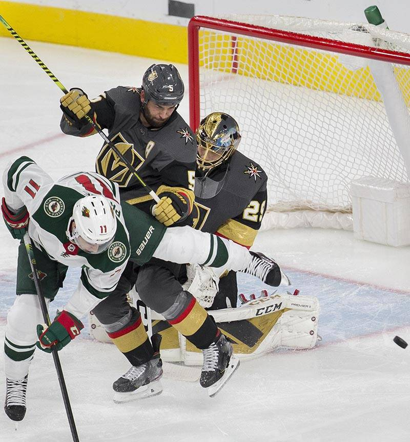 Vegas Golden Knights goaltender Marc-Andre Fleury (29) makes a save with Vegas Golden Knights d ...