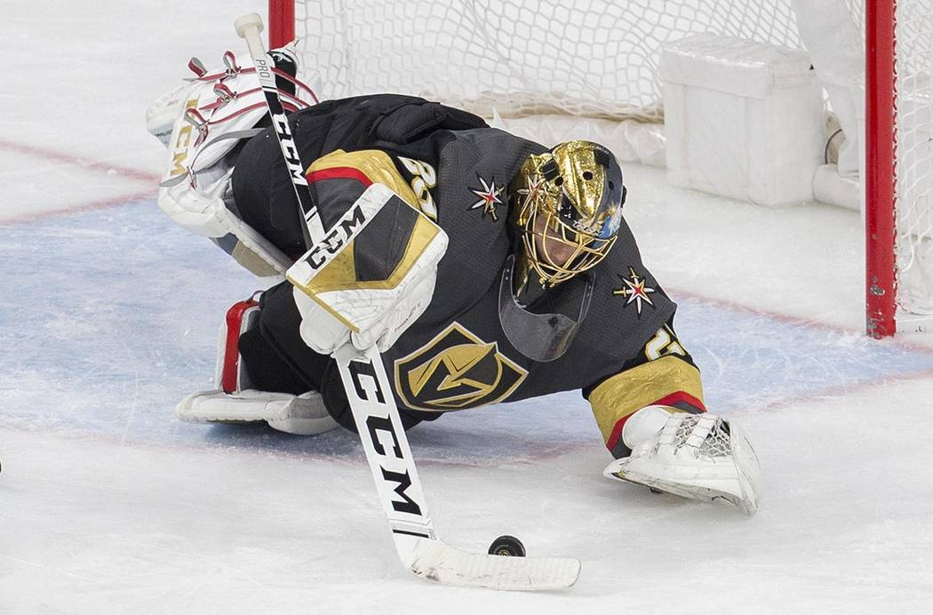 Vegas Golden Knights goaltender Marc-Andre Fleury (29) makes a save in the third period of an N ...