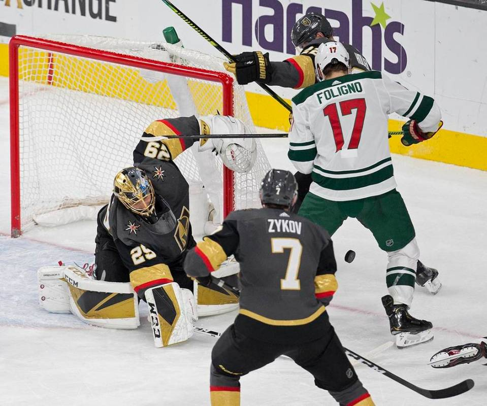 Vegas Golden Knights goaltender Marc-Andre Fleury (29) makes a save against Minnesota Wild left ...