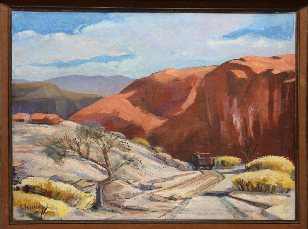 Painting by Cliff Segerblom Title Unknown, 1965-1975 Acrylic on Canvasboard (Clark County Museum)