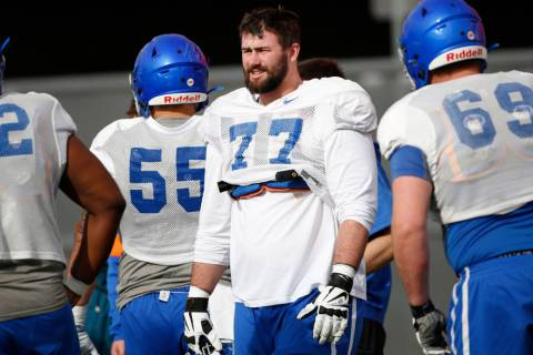 Boise State Broncos offensive lineman John Molchon (77) is seen during a football practice in L ...