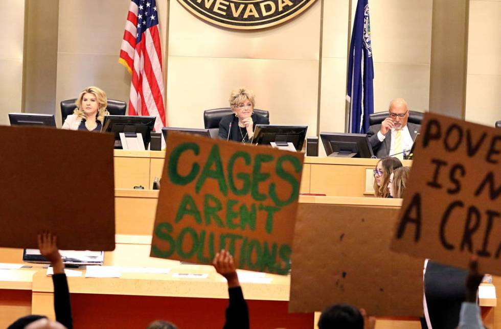 Las Vegas Mayor Carolyn Goodman, center, Councilwoman Michele Fiore, left, Councilman Stavros A ...