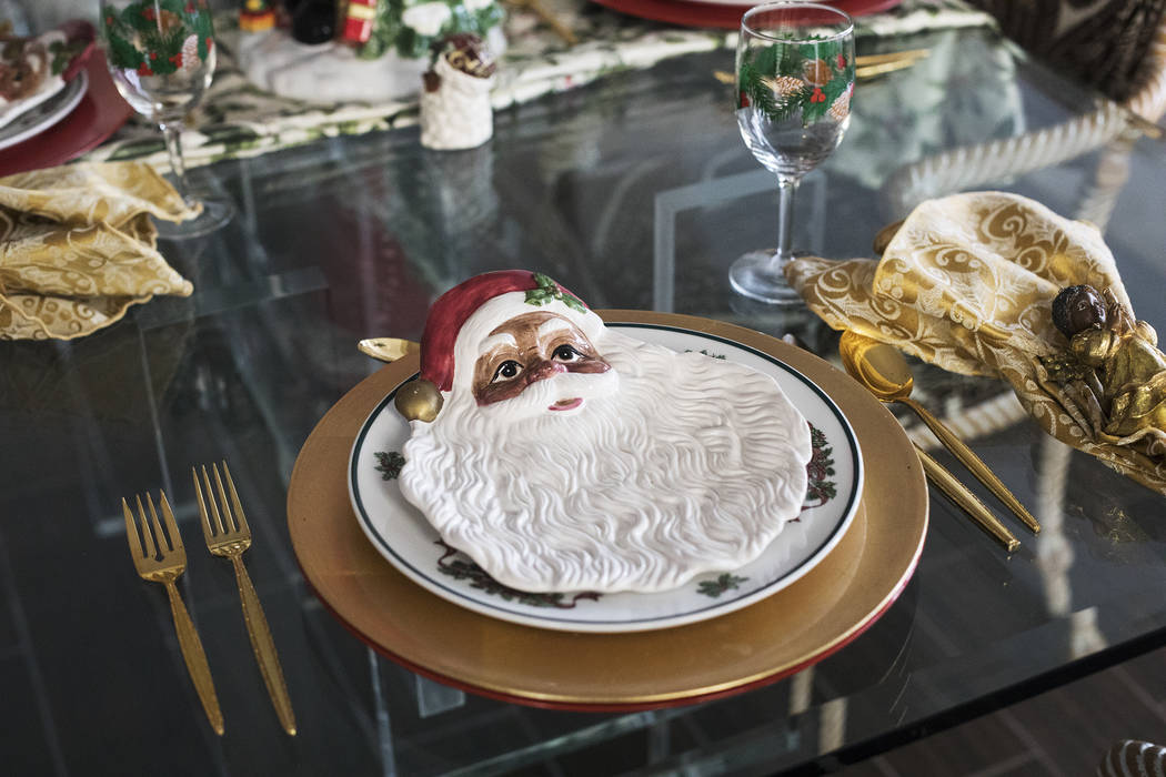 A Santa Claus plate at the home of Roxanne Givens in Las Vegas, Wednesday, Dec. 18, 2019. Given ...