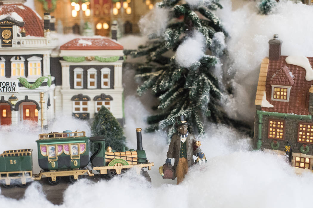 A figurine Christmas village at the home of Roxanne Givens in Las Vegas, Wednesday, Dec. 18, 20 ...