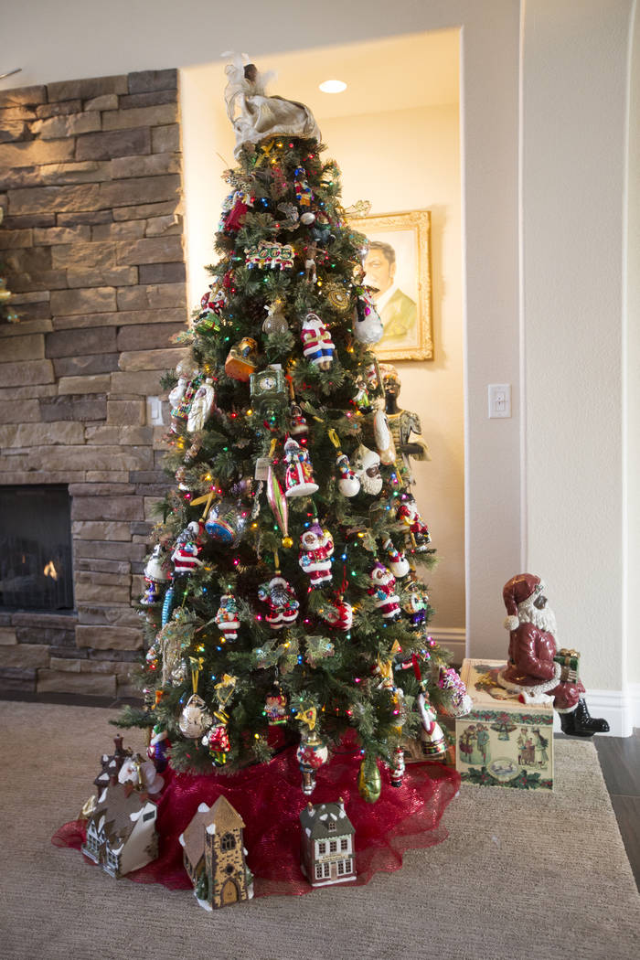 Roxanne GivensÕ Christmas tree covered in African American ornaments at her home in Las Vegas, ...