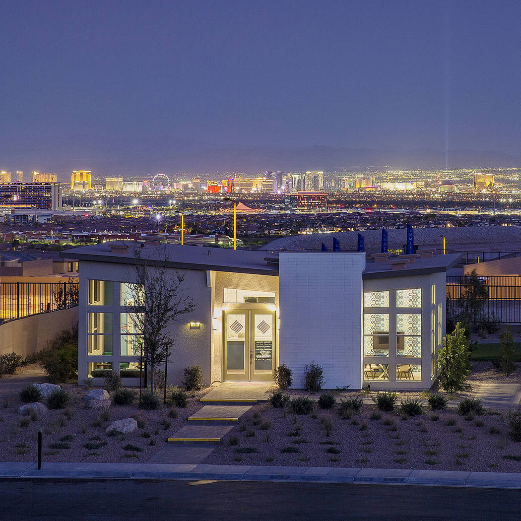 Sandalwood by Pardee Homes in the Summerlin village of Stonebridge sits on elevated topography ...