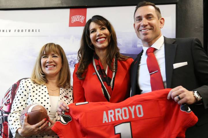 Marcus Arroyo was introduced as UNLV's new head football coach at the Fertitta Football Complex ...