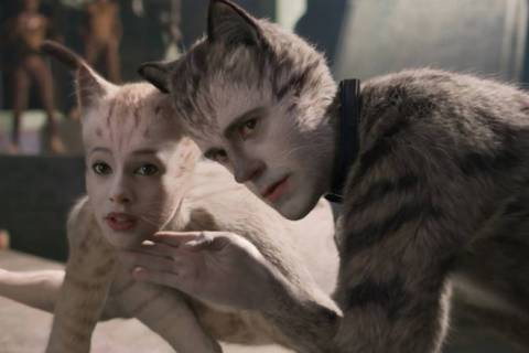 "(from left) Victoria (Francesca Hayward) and Munkustrap (Robbie Fairchild) in ""Cats,"" ..."