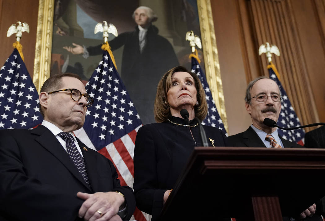 Speaker of the House Nancy Pelosi, D-Calif., flanked by House Judiciary Committee Chairman Jerr ...