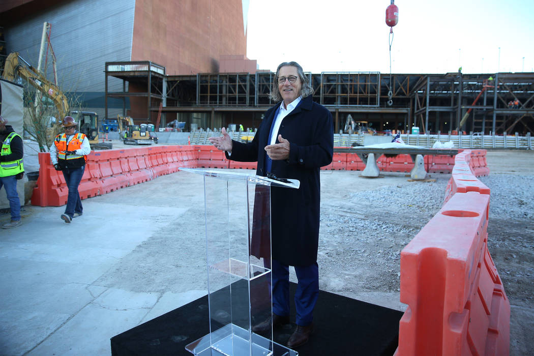 Bob Maricich, president and CEO of International Market Centers, speaks during a topping-off ce ...